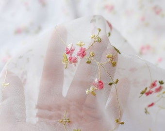 """Lace Fabric Pink Flower Embroidered Ivory Tulle Fabric Dress Bridal Veil Floral 41"""" Wide 1 Yard"""