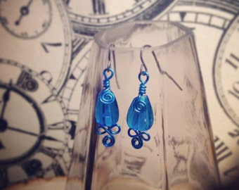 Simple Blue Glass Wire Wrapped Earrings