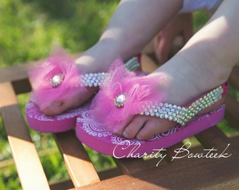 Pink Bling Flip Flop/ Sandal/ Thongs w/ Flower