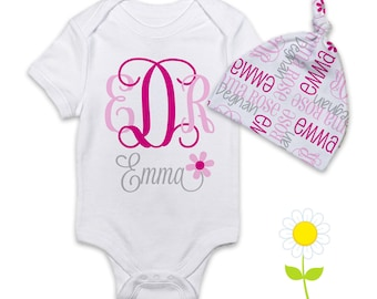 Personalized Baby Girl Gift Set - Monogrammed Bodysuit or Gown & Knotted Beanie Hat - Custom Name Hat and One-Piece - Coming Home Outfit