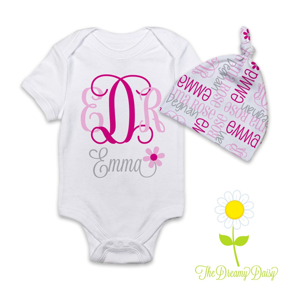 Personalised Baby Gift Sets : Personalized baby girl gift set monogrammed bodysuit or gown