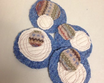 Upcycled Wool Coasters - Set of 4- Blue/Cream