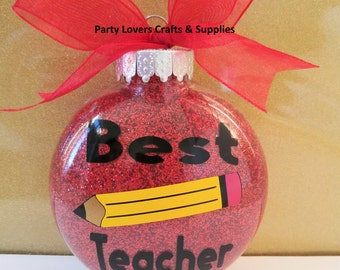 Christmas ORNAMENTS TEACHER Ornaments; Both side gift; Plastic crafts ornaments; Best Teacher favor; customized as you wish - 1 unit.