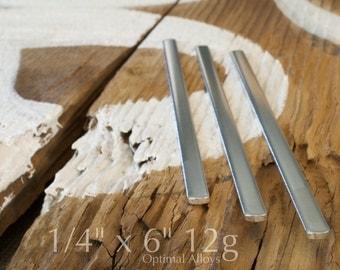 Aluminum Blanks/ 12 guage/ stamping blanks/ 25 Polished 1/4 x 6 Aluminum Cuff Blanks - Flat
