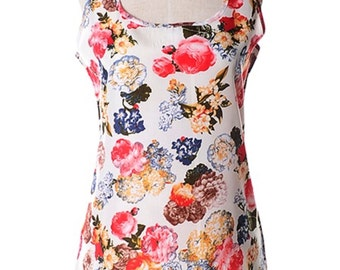 Garden of Flowers Top Cream Color (Size S)