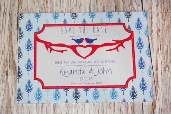 Winter WEDDING Personalized Save The Date PRINTABLE - Pdf - Digital