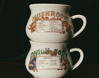 Vintage Soup Recipe Mugs