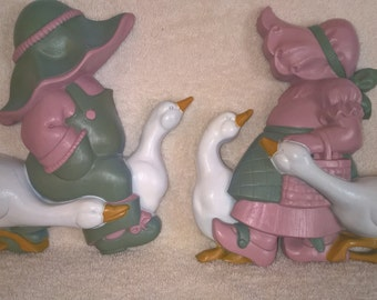 1988 Burwood Prod.  Boy and Girl Wall Plaques (Pair)