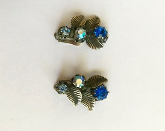 Vintage Silver with Blue Rhinestone Earrings Made in Austria