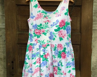 Vintage 80's Floral Babydoll Tank Dress by Pacific Beach