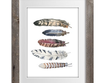 Autumn Feathers, Print of Original Watercolor Painting - Feather wall art - Office decor and home decor