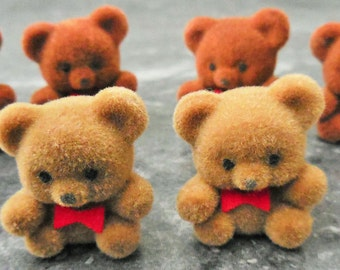 Miniature flocked bears, tiny bears, brown bears, craft bears, beige bears, mini bears, mini animals, cupcake topper
