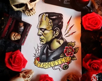 Original painting and prints! Frankenstein Tattoo Flash