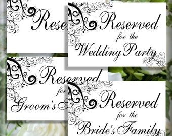 Swirls and Scrolls Reserved Wedding Table Signs  5 x 7 Set of 4 Printable Instant Download Digital DIY