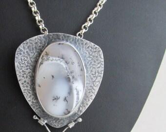 Dendritic Opal Pendant Pin