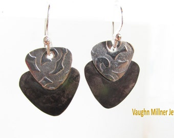 Earrings in Black and Silver
