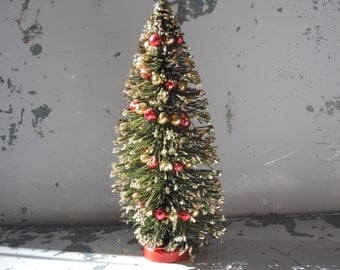 Bottle Brush Christmas Tree Holiday Decor Gold Frosted Tree featuring Beaded Mercury Glass Garland