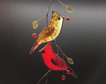 Stained Glass Pair of cardinals