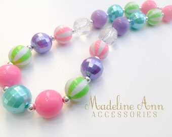 Bright Stripes Bubblegum Necklace, Pink Green Bubblegum Necklace, Colorful Bubblegum Necklace, Toddler Necklace, Girls Cake Smash Necklace