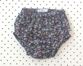 Black, pink and blue floral baby bloomers