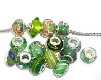 Ten Pack of Assorted Green Glass Lampwork Murano Glass Beads