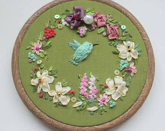 Hummingbird. Embroidered art. Textile art. Wall decor. Nature embroidery. Bird. Silk ribbon embroidery.