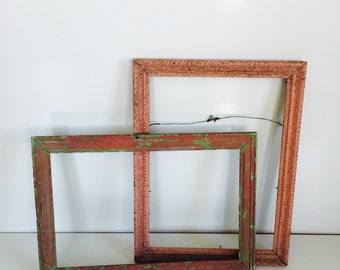 Two Vintage Shabby Pink Picture Frames