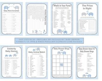 Blue Polka Dot Baby Game, Printable Elephant Baby Shower Game, Blue Gray Baby Shower Game, Dot Baby Game, DIY Baby Games - Printables 4 Less