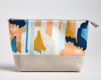 Make up Bag with Waterproof Lining, Painted Strokes by Made on Main VT