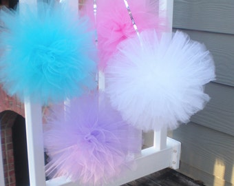 """XL tulle pom poms, sequin string, purple, aqua, pink, white, 12"""" pompoms great with Frozen party or Abby Cadaby"""
