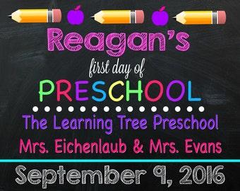 First Day of Preschool Sign - PRESCHOOL SIGN - Preschooler - First Day of School Sign - Any Grade!! - Digital File - Preschool Sign