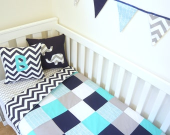 Patchwork quilt - Aqua's, navy and grey with a touch of herringbone AND Navy chevron backing