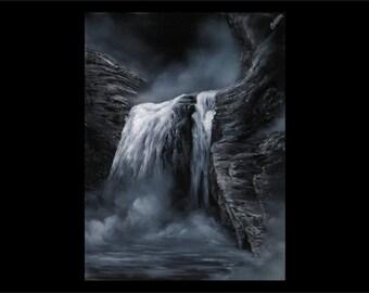 """Dark Falls - 18x24"""" Oil Painting Wall Art"""