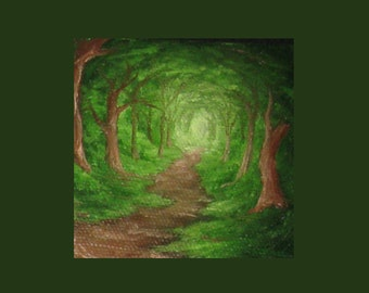 Forest Path - Miniature Oil Painting on Easel