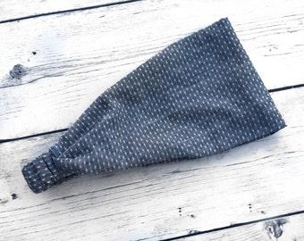 Chambray Headband, Denim Headband, Wide Headwrap, Dot Headband, Tiny Dot Chambray Headwrap Headband, Blue Chambray Headwrap, Boho Headband