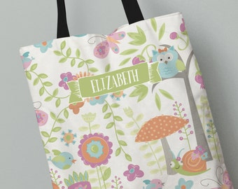 Wonderful Tote Bag   Pink Enchanted Garden Tote Bag   Kids Gift Idea   Personalized  All Over