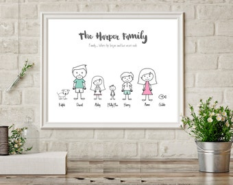 Personalized Family Print, Family Name Sign, Family Picture, Family Motto, Personalised Family Gifts, Parents Anniversary, New Home Gift mum