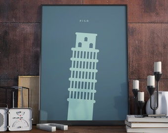 Leaning Tower of Pisa, Pisa, Italy. Sea Blue edition. Print. Poster.