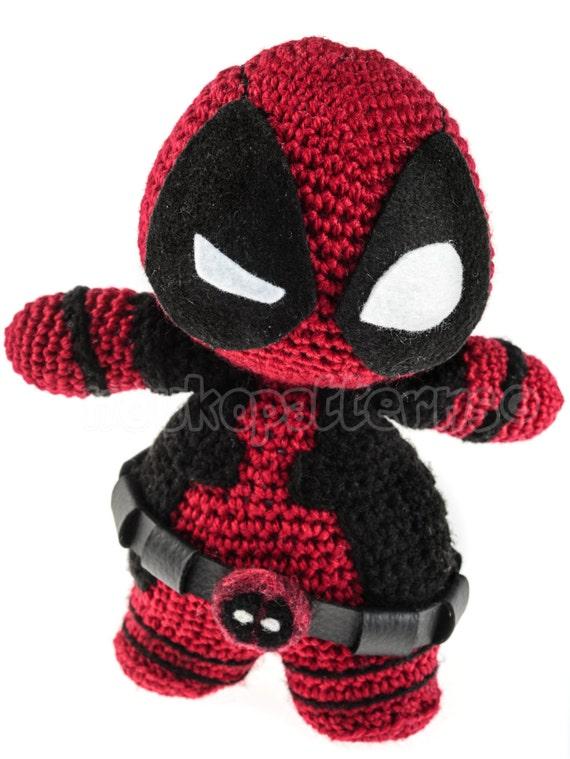 Deadpool Knitting Pattern : Chibi Deadpool Crochet Amigurumi INSTRUCTIONS by NoukoPatterns