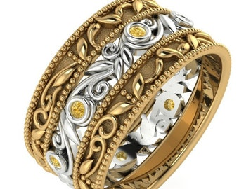 Wedding Diamond Bands, Engagement Band, Wedding Rings, Wedding Band, Two Tone Wedding Ring, Yellow Diamond Band, Wedding Eternity Ring