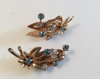 Vintage Goldtone and Blue and Clear Rhinestone Floral Bouquet Earrings