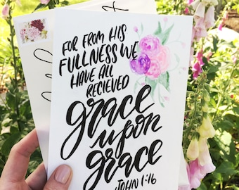 The Grace Letters Monthly Mailer, scripture card mailer, hand lettered scripture gift, Christian gift, encouragement and inspirational gift