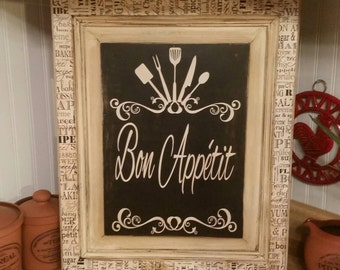 Bon Appetit Kitchen Wall Sign, Wooden Kitchen Sign, Bon Appetit Kitchen Decor, French Country Kitchen Decor, French Kitchen Sign
