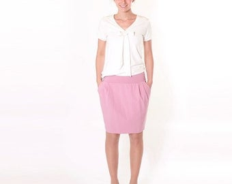"Pleated skirt ""Frieder"" with pleats and wing pockets / / Rosé"