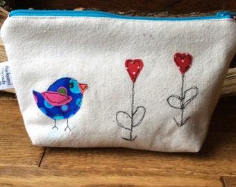 Whimsical bird zippered pouch