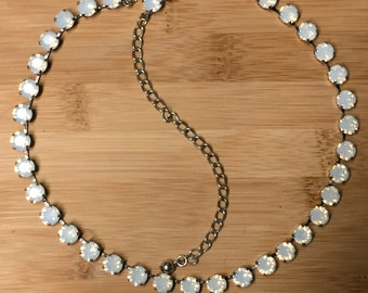 Stunning 36 box Swarovski Crystal Necklace in a hematite setting and 36 6mm Rose Water Opal Swarovski Crystals.