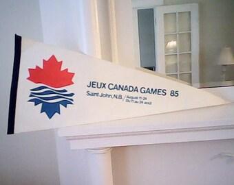 1985 CANADA GAMES BANNER Saint John N.B. Souvenier Pennant