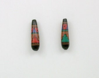 Handmade Ceramic Peruvian Teardrop Shaped Beads, Choice of quantity - 18