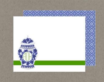 Set 20 Preppy Ginge Jar Circle Monogram Flat Note Cards with Envelopes Blue Green White - Social Stationery