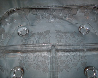 Antique Vintage Etched Glass Dish 3- Divided Section, Fostoria